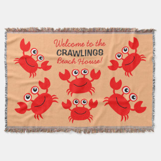 Happy Crab custom text throw blanket