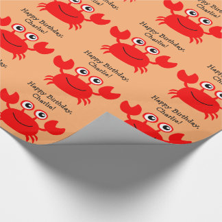 Happy Crab custom text wrapping paper