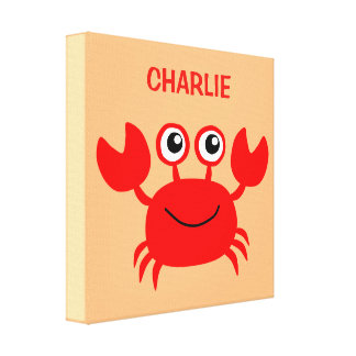 Happy Crab custom wrapped canvas print