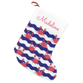 Happy Crabs Pattern | Add Your Name Small Christmas Stocking