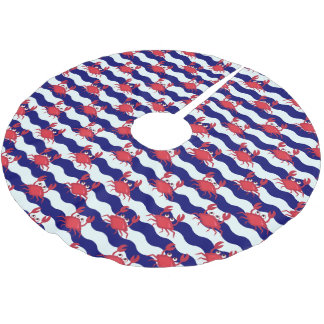 Happy Crabs Pattern Brushed Polyester Tree Skirt
