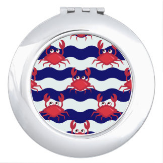 Happy Crabs Pattern Compact Mirror