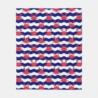 Happy Crabs Pattern Fleece Blanket