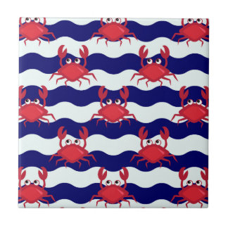 Happy Crabs Pattern Small Square Tile