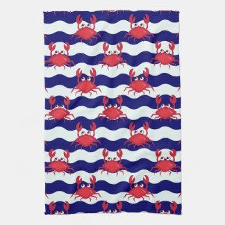 Happy Crabs Pattern Tea Towel