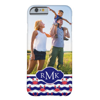 Happy Crabs Pattern| Your Photo & Monogram Barely There iPhone 6 Case