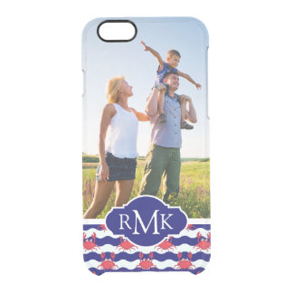 Happy Crabs Pattern| Your Photo & Monogram Clear iPhone 6/6S Case