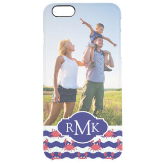 Happy Crabs Pattern| Your Photo & Monogram Clear iPhone 6 Plus Case