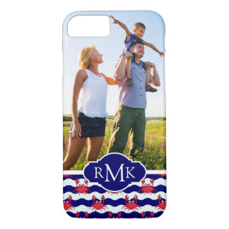 Happy Crabs Pattern| Your Photo & Monogram iPhone 8/7 Case