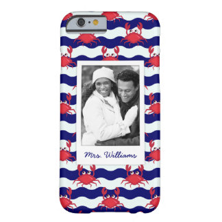 Happy Crabs Pattern | Your Photo & Name Barely There iPhone 6 Case