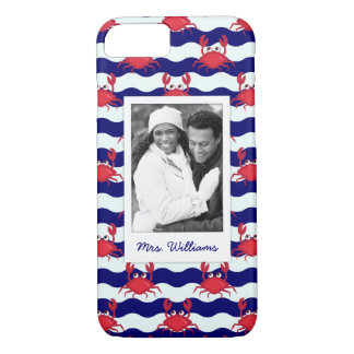 Happy Crabs Pattern | Your Photo & Name iPhone 8/7 Case