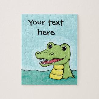Happy Crocodile customisable Jigsaw Puzzle