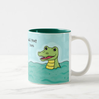 Happy Crocodile customisable Two-Tone Coffee Mug
