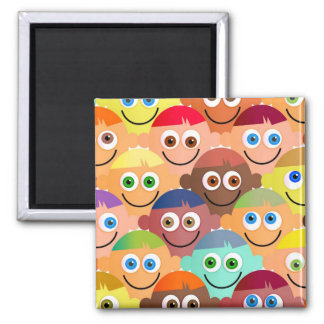 Happy Crowd Square Magnet