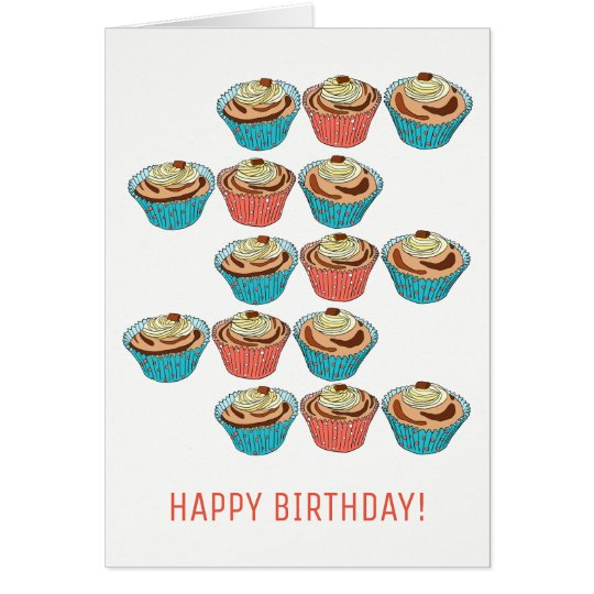 Happy Cup Cakes Birthday Card