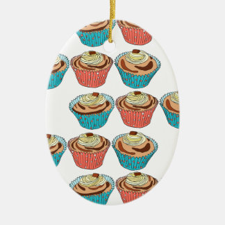 Happy Cup Cakes Ceramic Oval Decoration