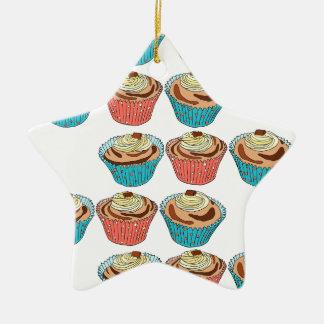 Happy Cup Cakes Ceramic Star Decoration
