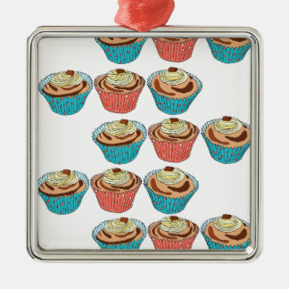 Happy Cup Cakes Silver-Colored Square Decoration