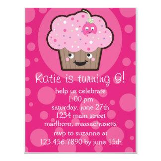 "Happy Cupcake Birthday Party Invitation 4.25"" X 5.5"" Invitation Card"