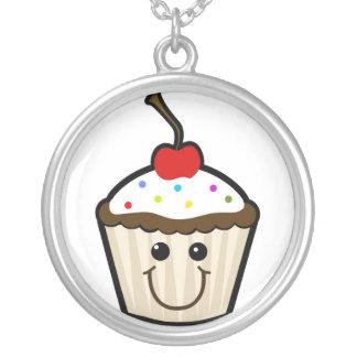 Happy Cupcake Round Pendant Necklace