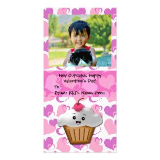 Happy Cupcake Valentine Kid's Customized Photo Card