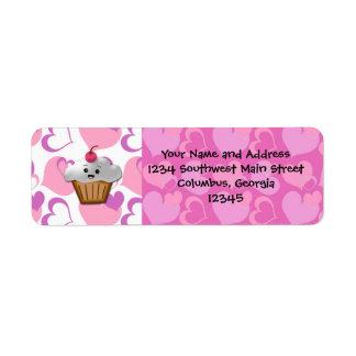 Happy Cupcake Valentine Return Address Label