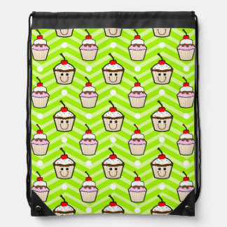 Happy Cupcakes on Neon Green Chevron Stripes Drawstring Backpack