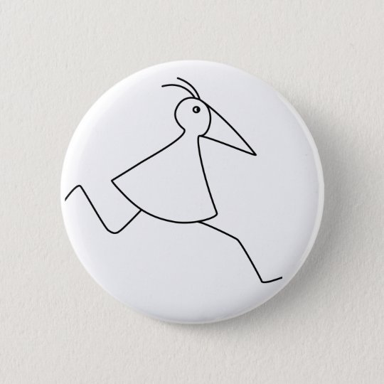 happy-curious-busy: the basic RUNNY-bird 6 Cm Round Badge