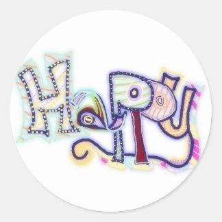 Happy ~ customizable stickers! round sticker