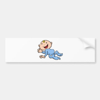 Happy cute baby crawling and waving bumper sticker