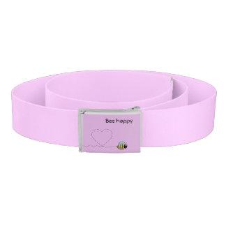 Happy cute bee cartoon pun pink belt