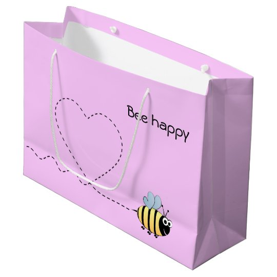 Happy cute bee cartoon pun pink girl large