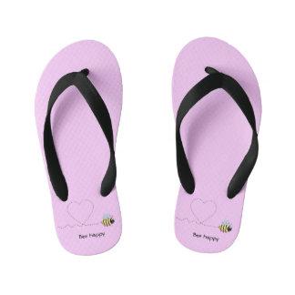 Happy cute bee cartoon pun pink girls flip flops