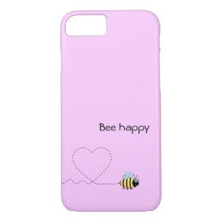 Happy cute bee cartoon pun pink iPhone 7 case