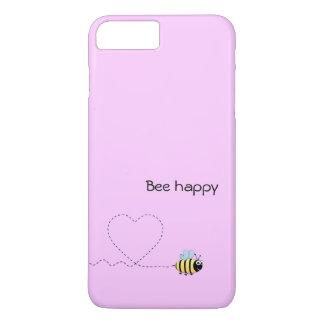 Happy cute bee cartoon pun pink iPhone 7 plus case