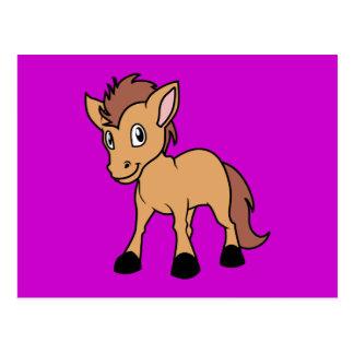 Happy Cute Brown Foal Little Horse Pony Colt Postcard