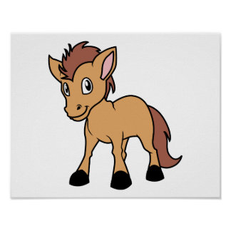 Happy Cute Brown Foal Little Horse Pony Colt Poster