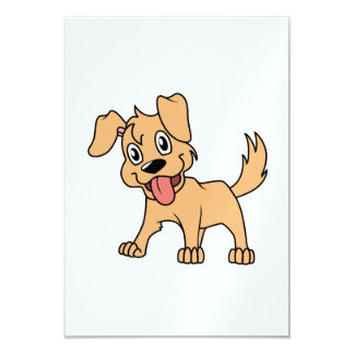 """Happy Cute Brown Puppy Dog Tongue Out 3.5"""" X 5"""" Invitation Card"""