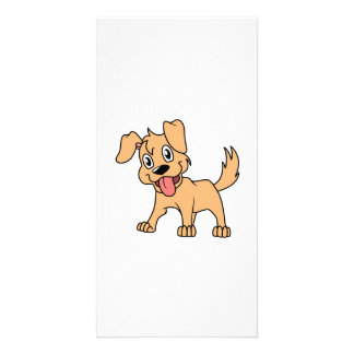 Happy Cute Brown Puppy Dog Tongue Out Personalized Photo Card