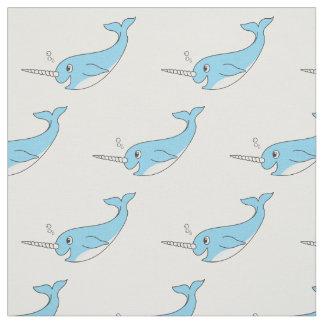 Happy Cute Cartoon Blue Narwhal Fabric