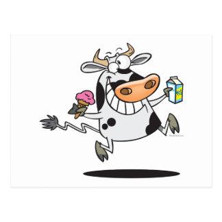 happy cute dairy cow cartoon ice cream milk postcard