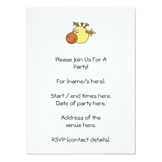 Happy Cute Giraffe. Cartoon Animal. 17 Cm X 22 Cm Invitation Card