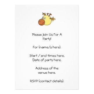 Happy Cute Giraffe Cartoon Animal Custom Invitations