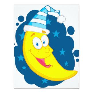 happy cute goodnight moon cartoon 11 cm x 14 cm invitation card