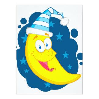 happy cute goodnight moon cartoon 17 cm x 22 cm invitation card