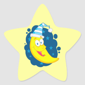 happy cute goodnight moon cartoon star sticker