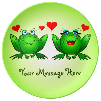Happy Cute Green Cartoon Frogs Your Message Plate