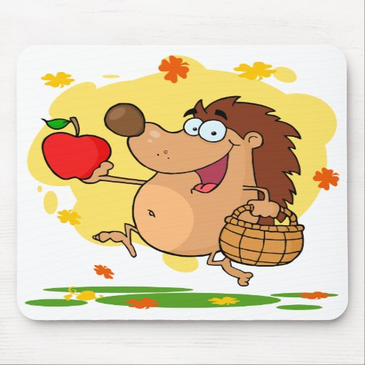 happy cute hedgehog apple picking mouse pads