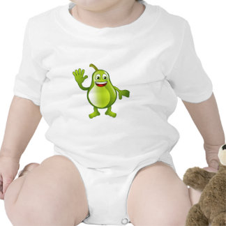 Happy cute pear fruit character baby bodysuits