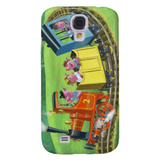 happy cute pigs on train journey in countryside galaxy s4 case